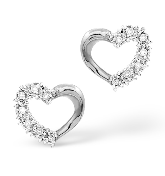 Heart Earrings 9ct White Gold Diamond Heart Stud Earrings