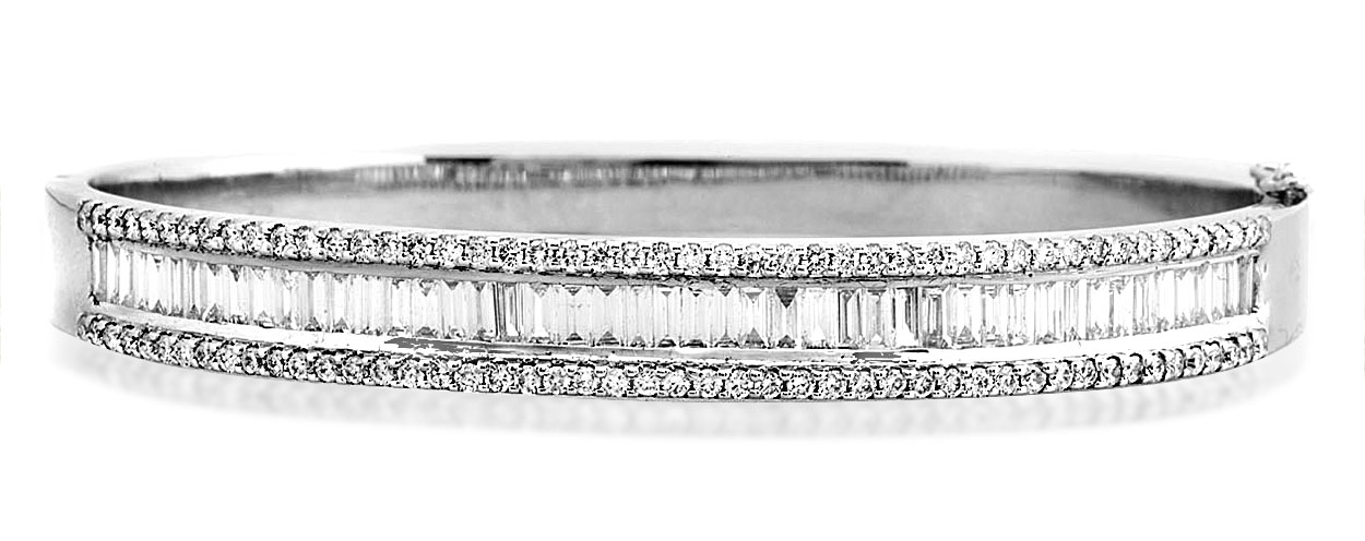 prong diamond hinged gold bangles white bangle set
