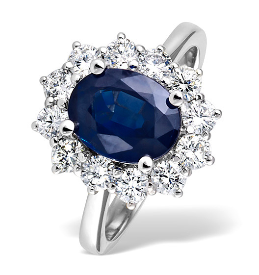 Platinum Sapphire 2 30ct And Diamond 1 00ct Ring Item