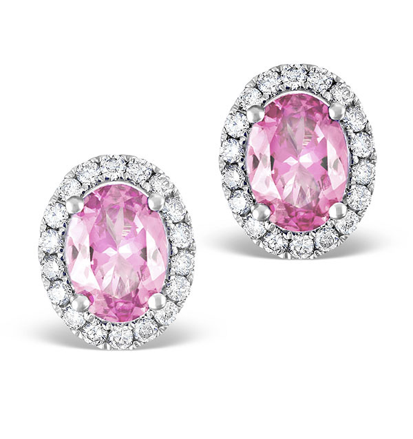 Pink Sapphire 7 x 5mm And Diamond 18K White Gold Earrings Item