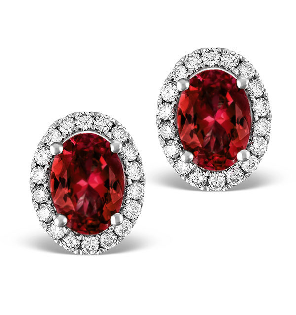Ruby 2 30ct And Diamond 18k White Gold Earrings Item Fg29 Ty