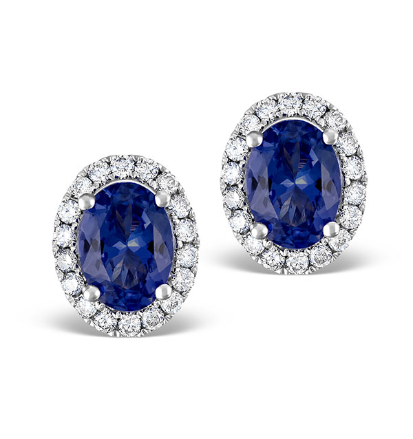 sapphire earrings with diamonds sapphire 7mm x 5mm and 18k white gold earrings 2123