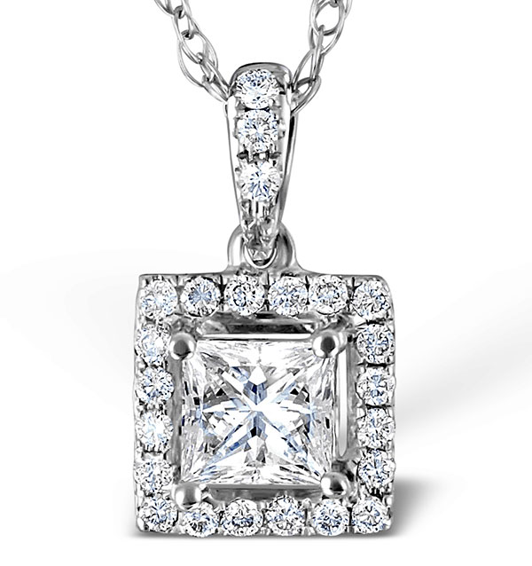 white princess cut aurora pendant diamond