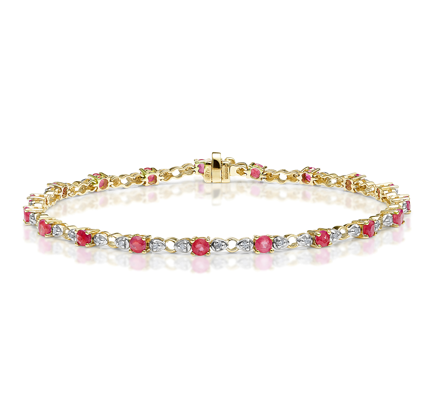 gold bracelet white ruby bracelets round cut real plated sapphire blue