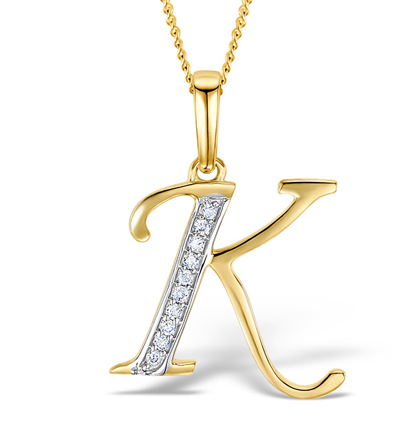 9k gold diamond initial k necklace 005ct item k ma aloadofball Gallery