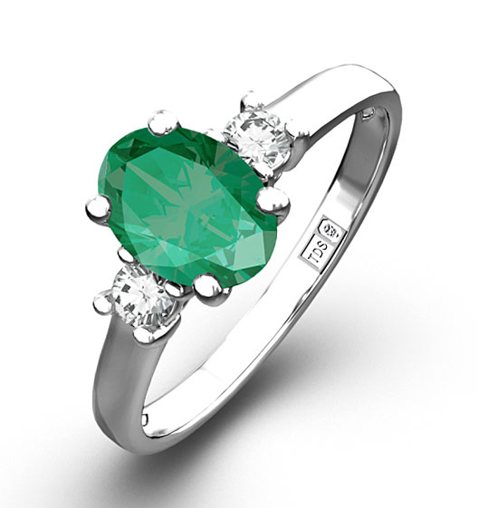 Emerald 0 75ct And Diamond 18K White Gold Ring Item N4316Y