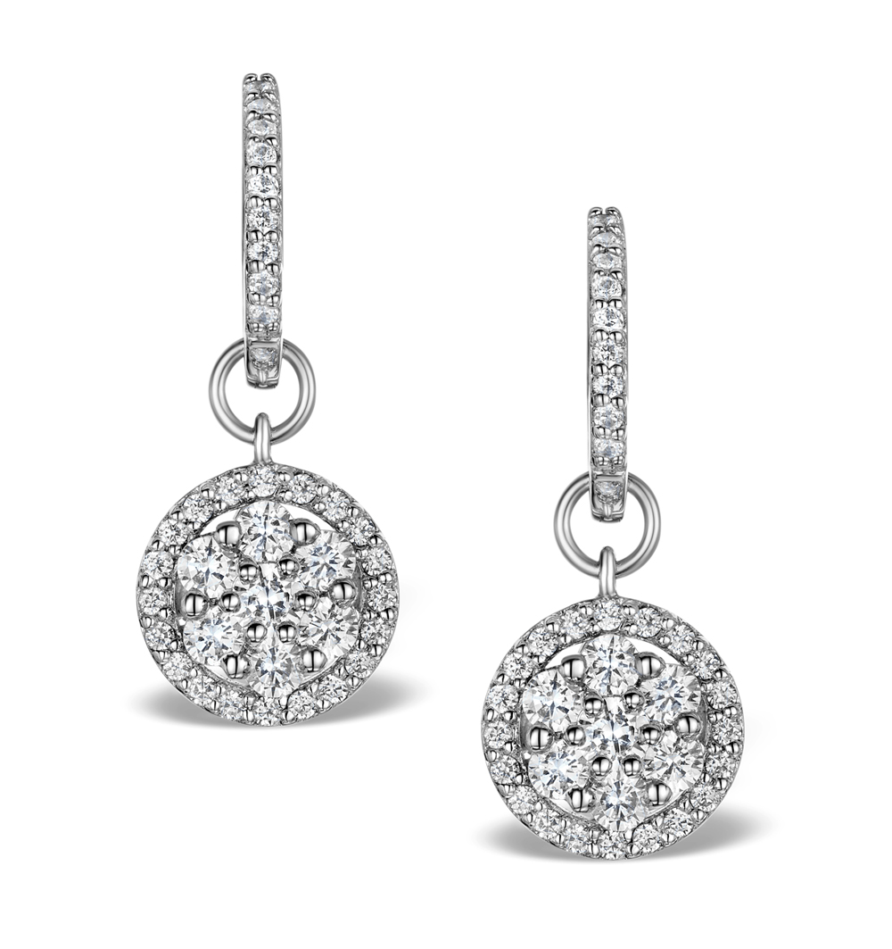 Halo Diamond Drop Earrings Florence 1 50ct In 18k White Gold