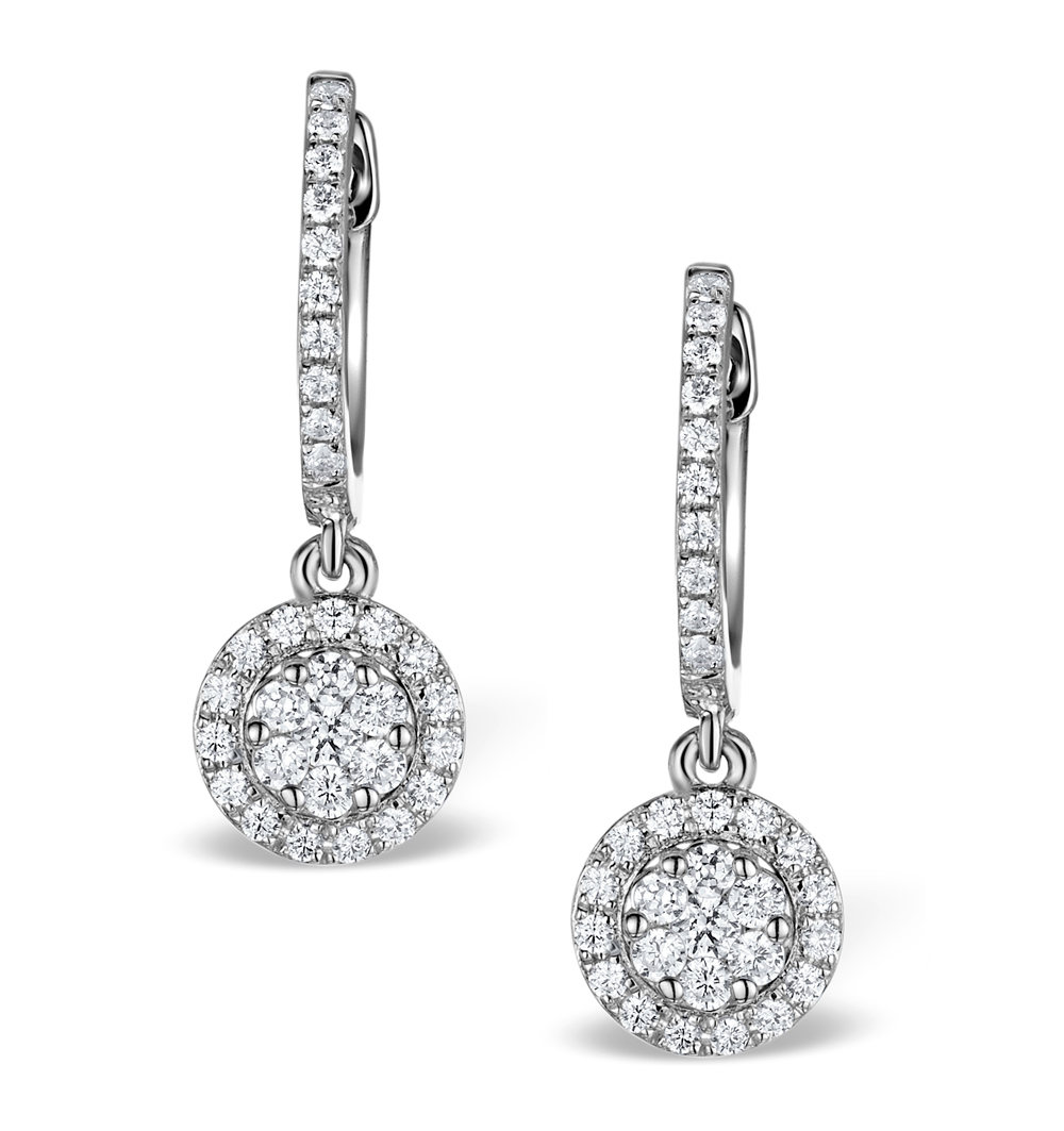 Halo Diamond Drop Earrings Florence 0 46ct In 18k White Gold