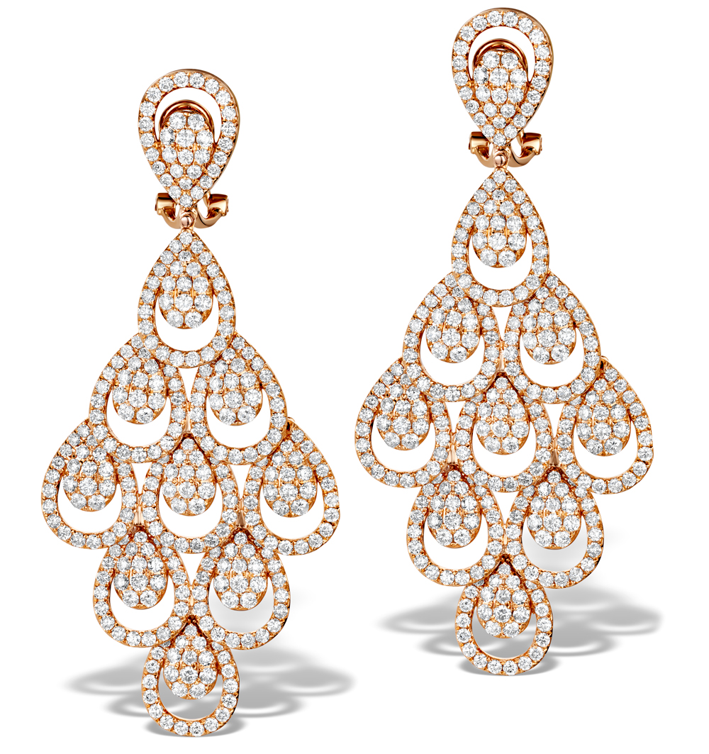 Diamond Halo Pyrus Chandelier Earrings 9 40ct In 18k Rose Gold P3490 Item