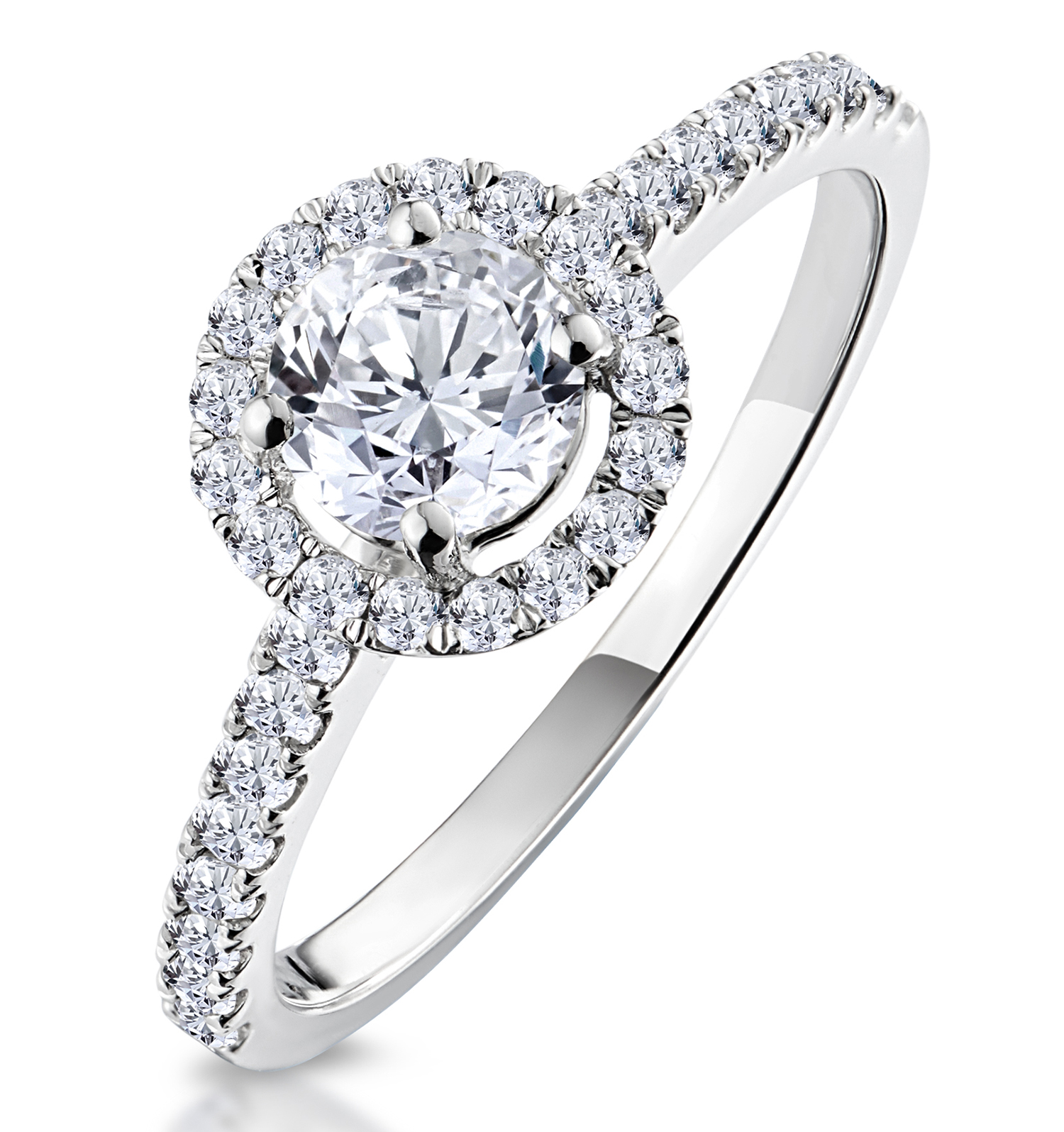 Ella Halo Diamond Engagement Ring 18k White Gold Size L