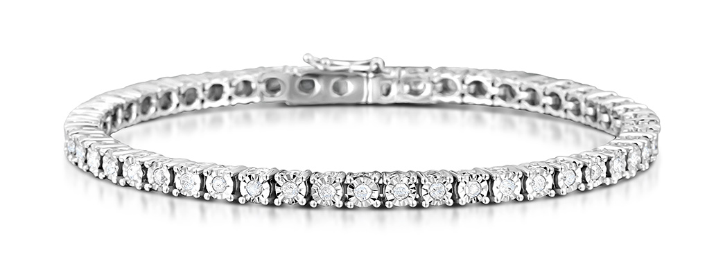 Silver Diamond Set 1.00ct Tennis Bracelet - Item UD3225 bdda5f0cb