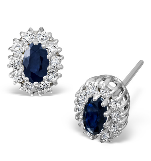 Sapphire 5mm x 3mm And Diamond 9K White Gold Earrings Item B3607