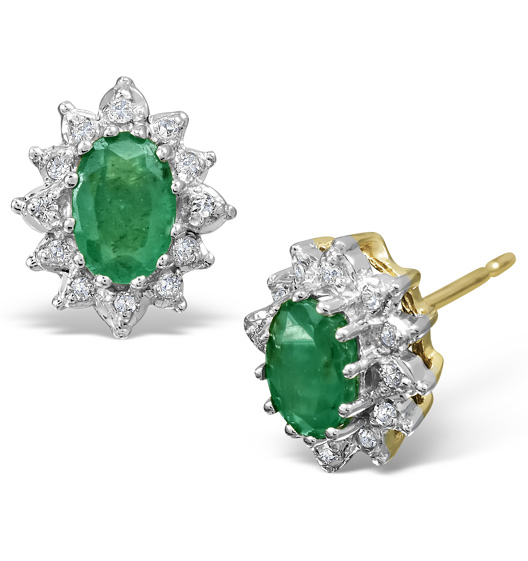 Emerald 6 X 4mm And Diamond 18k Yellow Gold Earrings 25 G