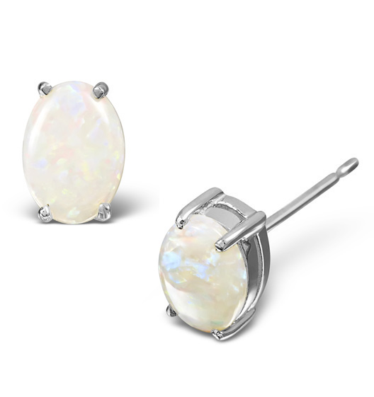 Opal 7 X 5mm And 9k White Gold Earrings